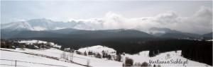 Wał chmur - wiatr Halny w Tatrach - panorama z Murzasichla